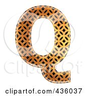 Royalty Free RF Clipart Illustration Of A 3d Patterned Orange Symbol Capital Letter Q by chrisroll
