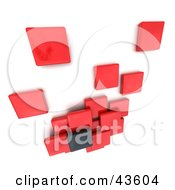 Red And Black 3d Blocks Floating