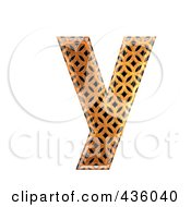 Royalty Free RF Clipart Illustration Of A 3d Patterned Orange Symbol Lowercase Letter Y by chrisroll