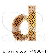 Royalty Free RF Clipart Illustration Of A 3d Patterned Orange Symbol Lowercase Letter D by chrisroll