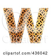 Royalty Free RF Clipart Illustration Of A 3d Patterned Orange Symbol Capital Letter W by chrisroll