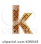 Royalty Free RF Clipart Illustration Of A 3d Patterned Orange Symbol Lowercase Letter K by chrisroll