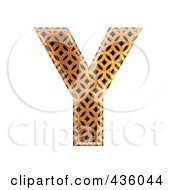Royalty Free RF Clipart Illustration Of A 3d Patterned Orange Symbol Capital Letter Y by chrisroll