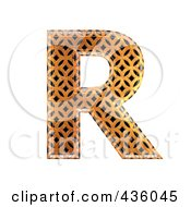 Royalty Free RF Clipart Illustration Of A 3d Patterned Orange Symbol Capital Letter R by chrisroll