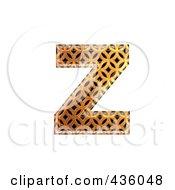 Royalty Free RF Clipart Illustration Of A 3d Patterned Orange Symbol Lowercase Letter Z
