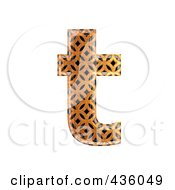 3d Patterned Orange Symbol Lowercase Letter T