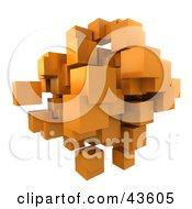 Mass Of Floating 3d Orange Cubes