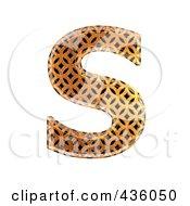 Royalty Free RF Clipart Illustration Of A 3d Patterned Orange Symbol Capital Letter S