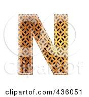 Royalty Free RF Clipart Illustration Of A 3d Patterned Orange Symbol Capital Letter N