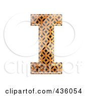 3d Patterned Orange Symbol Capital Letter I