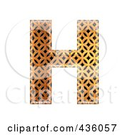Royalty Free RF Clipart Illustration Of A 3d Patterned Orange Symbol Capital Letter H