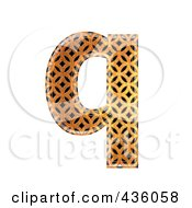 Royalty Free RF Clipart Illustration Of A 3d Patterned Orange Symbol Lowercase Letter Q