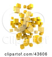 Floating 3d Yellow Cubes