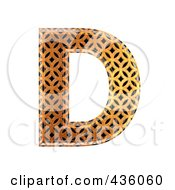 3d Patterned Orange Symbol Capital Letter D