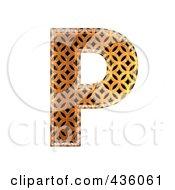 Royalty Free RF Clipart Illustration Of A 3d Patterned Orange Symbol Capital Letter P