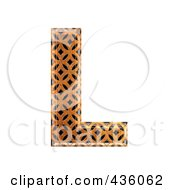 Royalty Free RF Clipart Illustration Of A 3d Patterned Orange Symbol Capital Letter L