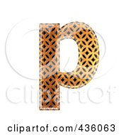 Royalty Free RF Clipart Illustration Of A 3d Patterned Orange Symbol Lowercase Letter P by chrisroll
