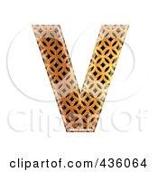 Royalty Free RF Clipart Illustration Of A 3d Patterned Orange Symbol Capital Letter V