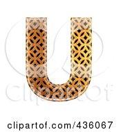 Royalty Free RF Clipart Illustration Of A 3d Patterned Orange Symbol Capital Letter U