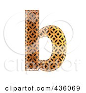 Royalty Free RF Clipart Illustration Of A 3d Patterned Orange Symbol Lowercase Letter B