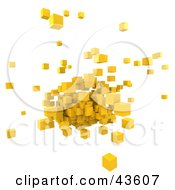 Mass Of Floating 3d Yellow Cubes