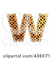 3d Patterned Orange Symbol Lowercase Letter W
