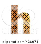Royalty Free RF Clipart Illustration Of A 3d Patterned Orange Symbol Lowercase Letter H