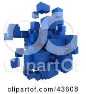 Mass Of Floating 3d Blue Cubes