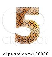 Royalty Free RF Clipart Illustration Of A 3d Patterned Orange Symbol Number 5