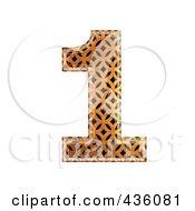 3d Patterned Orange Symbol Number 1