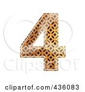 Royalty Free RF Clipart Illustration Of A 3d Patterned Orange Symbol Number 4