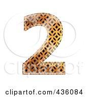 Royalty Free RF Clipart Illustration Of A 3d Patterned Orange Symbol Number 2