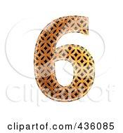 Royalty Free RF Clipart Illustration Of A 3d Patterned Orange Symbol Number 6