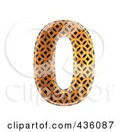 3d Patterned Orange Symbol Number 0