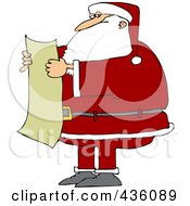 Royalty Free RF Clipart Illustration Of Santa Reading A List