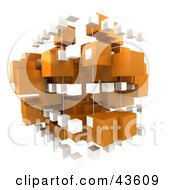 3d White And Orange Cubic Structure