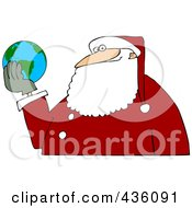 Royalty Free RF Clipart Illustration Of Santa Holding A Globe In His Hands by djart