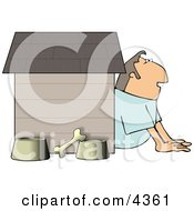 Husband In Trouble With His Wife Sitting Outside Of A Doghouse With A Bone And Food And Water Bowls Clipart