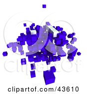 3d Blue And White Cubic Particles