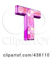 3d Pink Burst Symbol Capital Letter T by chrisroll