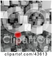 3d White Cubes And Red Orbs Floating Over A Glass Surface