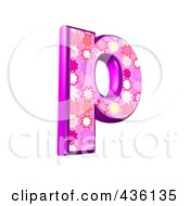 Royalty Free RF Clipart Illustration Of A 3d Pink Burst Symbol Lowercase Letter P by chrisroll