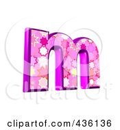 Royalty Free RF Clipart Illustration Of A 3d Pink Burst Symbol Lowercase Letter M by chrisroll