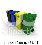 Clipart Illustration Of A 3d Row Of Black Blue Yellow And Green Rolling Trash Cans by Frank Boston