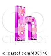 Royalty Free RF Clipart Illustration Of A 3d Pink Burst Symbol Lowercase Letter H by chrisroll