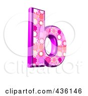 Royalty Free RF Clipart Illustration Of A 3d Pink Burst Symbol Lowercase Letter B by chrisroll