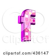 Royalty Free RF Clipart Illustration Of A 3d Pink Burst Symbol Lowercase Letter F by chrisroll