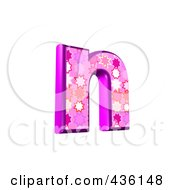 Royalty Free RF Clipart Illustration Of A 3d Pink Burst Symbol Lowercase Letter N by chrisroll