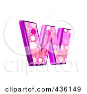 Royalty Free RF Clipart Illustration Of A 3d Pink Burst Symbol Lowercase Letter W by chrisroll