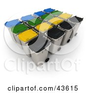 Clipart Illustration Of Rows Of Rolling 3d Trash Cans With Blue Green Yellow And Black Lids by Frank Boston